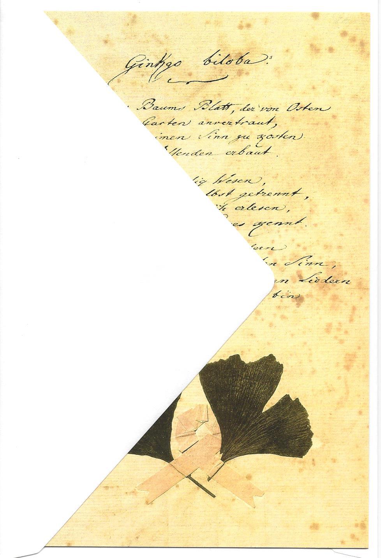 doppelkarte mit umschlag goethe gedicht ginkgo biloba. Black Bedroom Furniture Sets. Home Design Ideas